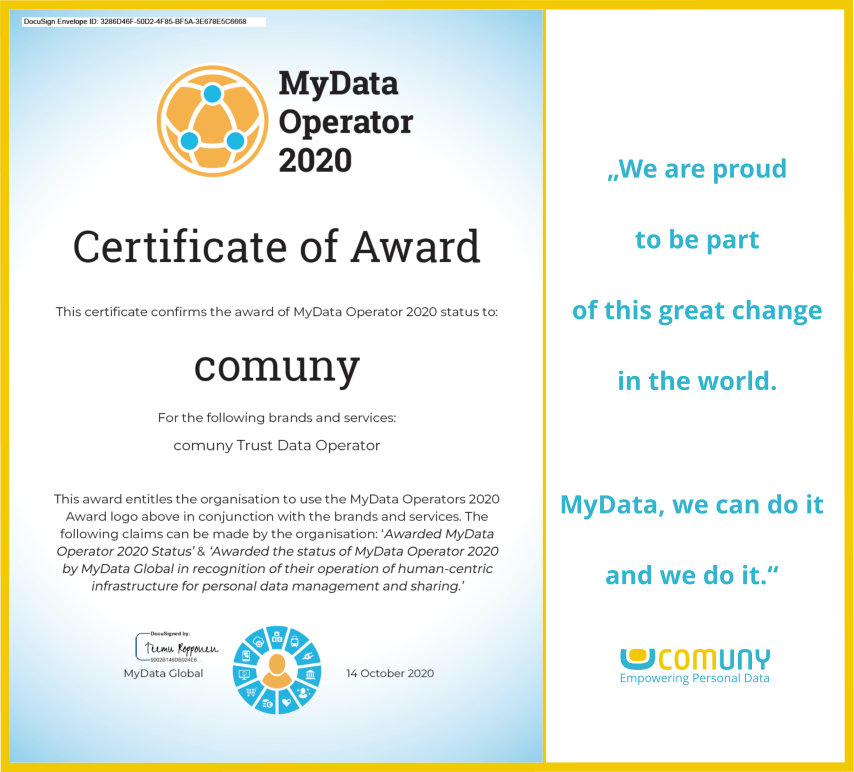 comuny Global Award MyData Operator